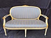 French Louis Xvi Style Sofa/settee With Antique Gold/white Finish, Handcrafted W