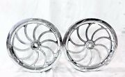 17 X 2.25 Front Drag Racing Chrome Chaos Wheels 2 Spindle Mount