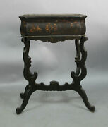Antique 19th Century Chinese Chinoiserie Black Laquered Planter 13138