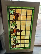 Sg3702 Antique Stain Glass Grape And Vine Window 20.75 X 35