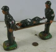 Vintage 1950 J H Miller Chalkware Wwii Soldier Carrying Wounded In Stretcher