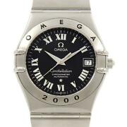 Auth Omega Watch Constellation 2000 1504.50 Automatic Case 35.5mm Black Roman