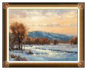 Robert Peters Original Oil Painting On Board River Mountain Landscape Signed Art
