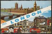 Ax1436 England 1964 - London - Houses Parliament - Piccadilly Circus - Postcard