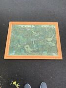 Antique Indonesian Bali Asian Painting On Fabric Tapestry