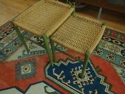 Vintage Mid Century Stacking Stools W/ Woven Danish Cord Seats