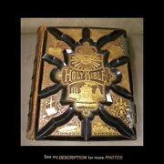 1886 Large Masonic Pictoral Family Bible Gold Gilt Leather Cover No Writing