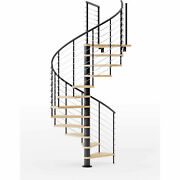 Hayden 36h Platform Rail Spiral Stair Kit 60 Dia 12and039h Oak Treads Black