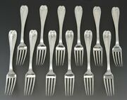Nice Set 12 And Co Sterling Silver Colonial Dinner Forks 7 3/8