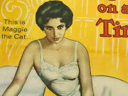 Cat On A Hot Tin Roof Linen Backed Half Sheet Movie Poster 1958 Elizabeth Taylor