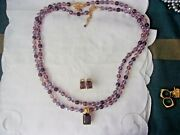 Joan Rivers 2 Purple Bead Necklaces Pendant And Pierced Earrings And Omega Chain