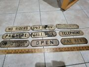 Vintage Embossed Metal Signs Telephone No Riders Pay Here Open Garage Rent Space