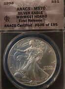 Rare 1998 Pop 195 Anacs Ms70 Midwest Hoard Silver Eagle / Free Ship And Returns