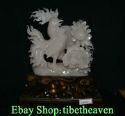 14.8 Old Chinese Pink Xiu Jade Carving Feng Shui Cock Rooster Flower Statue
