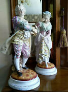 Victorian Porcelain French China Large Pair Figurines Outstanding