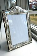 Big 9.5 Sterling Silver Picture Frame Ribbons Bows Floral Vintage Repousse