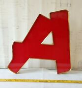 Reclaimed Industrial Red And Gold Letter A Salvaged Decor Marquee Sign