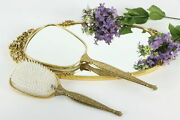 Gold Plated Filigree Vintage Floral Tray, Brush And Mirror Set, Matson 37522
