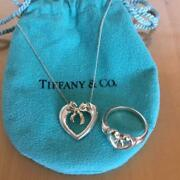 And Co. Silver Heart Gold Ribbon Pendant Necklace Ring Set M55040567760
