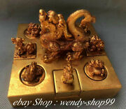 5 Old China Copper 24k Gold Dragon Phoenix Beast Kylin Seal Stamp Signet Set
