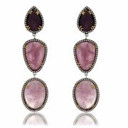 37.88 Ct Pink Slice Sapphire And Diamond 18k Gold And Sterling Drop Earrings