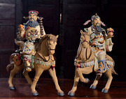 14 Chinese Shiwan Pottery Porcelain Dragon Wealth Mammon Money God Horse Pair