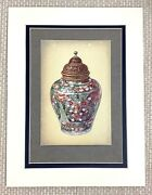 1910 Antique Print Chinese Porcelain Vase Jar Ming Dynasty Persian Brass Cover