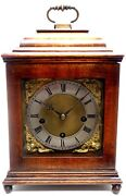 Antique 1900s Lenzkirch Chiming Mantel Clock Germany Walnut 8-day Movement