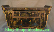 20.4 Rare Old China Lacquerware Wood Carving Palace Flower Belle Drawer Table
