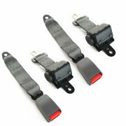 1pair For Chevy 2 Point Fixed Safety Belt Lap Strap Seatbelt Grey Retractable