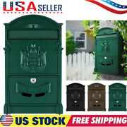 Large Vintage Mailbox Wall Mount Post Box Outdoor Locking Letter Post Box Mail+