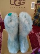 Ugg Fluff Momma Sz. 8 Boots Color Cornflower Blue Nwt And Box Discontinued Rare