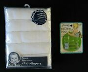 Gerber 5 Pack Prefold Premium White Cloth Diapers And 2 Count Vintage Diaper Pins