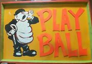 Vintage Baseball Old Antique Play Ball Hand Painted Store Sign 3x4ft Seattle