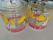 Vintage Glass Storage Jars Canisters Set 2 Lids Red Yellow Tulips Retro Kitchen