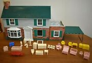 1950-60s Metal Colonial Two Story Doll House Furniture Dolls Metal Awning