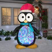 8and039 Kaleidoscope Penguin Chritmas Airblown Lighted Yard Inflatable