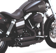 2012-2017 Harley Dyna Models Black Vance And Hines Short Shots Full Exhaust 47227