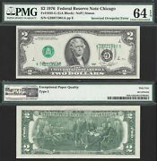 Rare 2 1976 Frn Type I Inverted Overprint Pmg Choice Uncirculated 64 Epq
