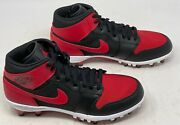 Air Jordan 1 Retro Mid Td And039chicagoand039 Football Cleat Red New Size 11 Ar5604-106