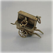 Vintage 9ct Gold Organ Grinder's Street Organ Charm With Moveable Monkey