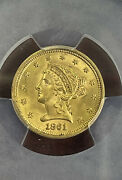 1861 Liberty Head 2.5 Gold Coin Pcgs Ms64 New Reverse