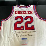 Clyde Drexler Signed Authentic 1983 High School Houston Cougars Jersey Psa Dna