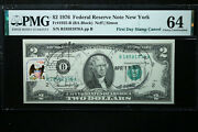 Us 2 1976 Note Fr1935 Pmg 64 Choice Uncirculated W Stamp Canceled 1st Day Issue