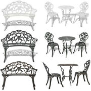 Garden Bench Bistro Table And Chairs Set Cast Aluminium Outdoor Furniture Park