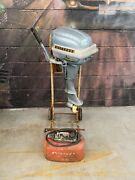 1954 Evinrude Fleetwin Aquasonic 7.5 Hp 7516 Outboard With Stand And Fuel Tank