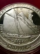 1987 Isle Of Man 10 Crowns 10oz .999 Silver America's Cup Challenge Coin