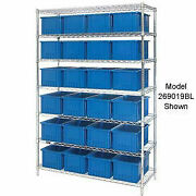 Wire Shelving With 36 6h Grid Container Blue 48x18x74