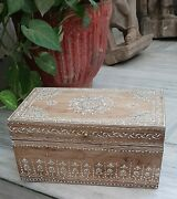 Wooden Hand Carved Jewellery Box Embossed Painted Jewelry Case Anniversary Gift