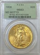 Pcgs Ms63 No Motto 1908 20 Saint Gaudens Gold Coin. Ogh. Choice Bu.